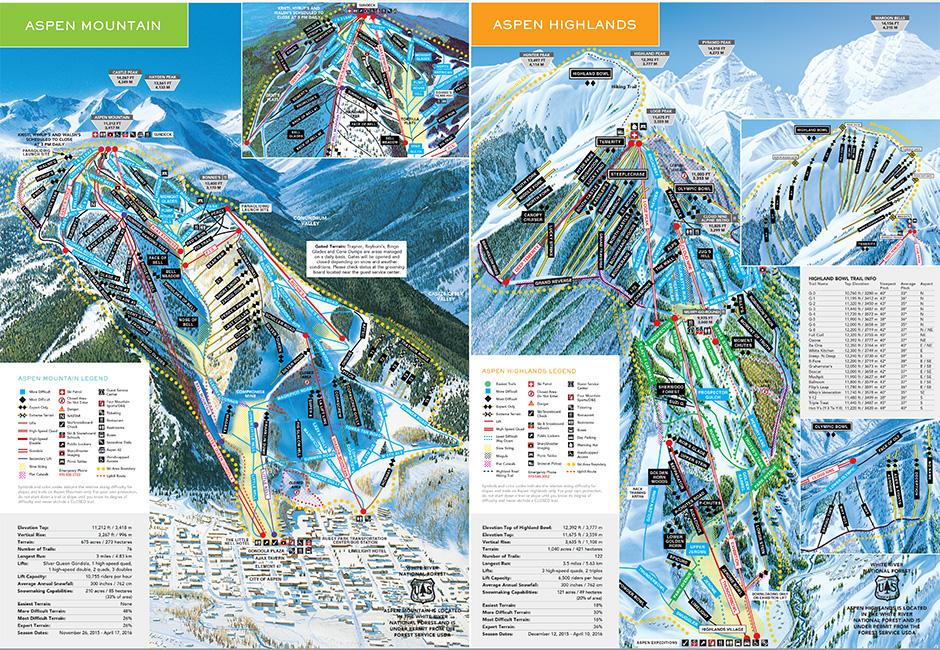 Aspen Snowm Trail Map, Snowm Resort Ski Map » Deep Powder Tours on