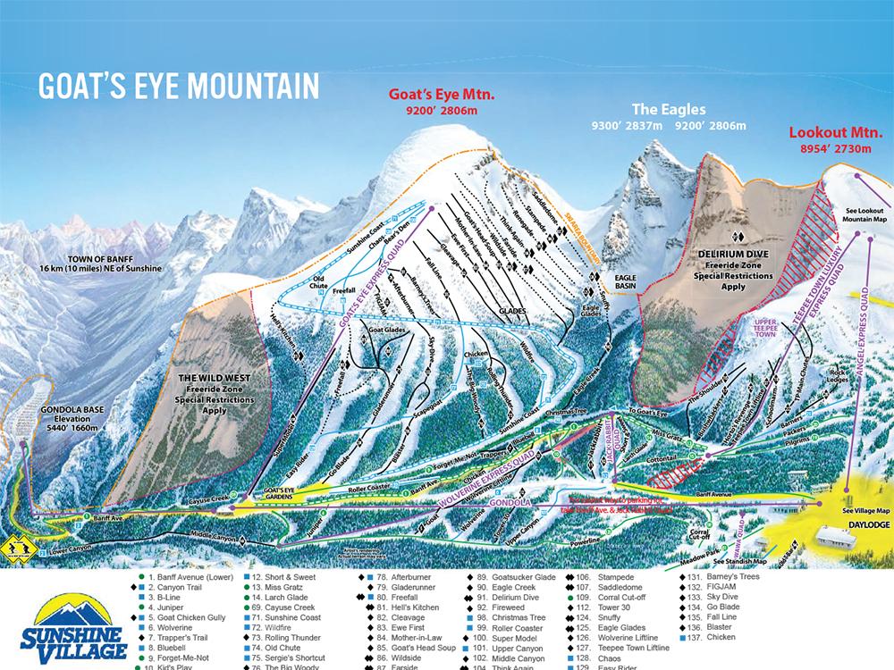 Banff and Lake Louise Trail Maps, Banff Sunshine Trail Map » Lake ...